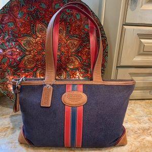 Coach Limited Offering Denim Striped Handbag